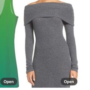 New NSR off shoulder body con knit dress